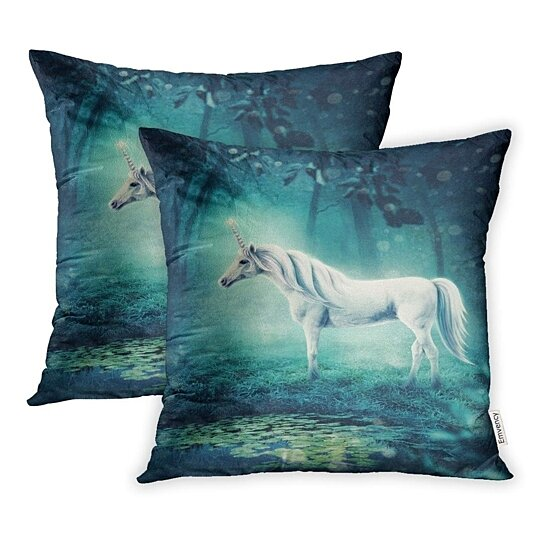 green fantasy unicorn in dark forest blue horse pillow case pillow cover 20x20 inch set of 2