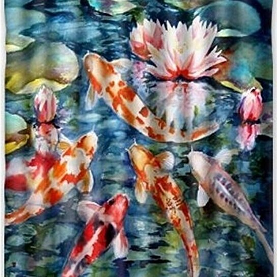 japanese koi fish shower curtain waterproof polyester fabric shower curtain size 60x72 inches