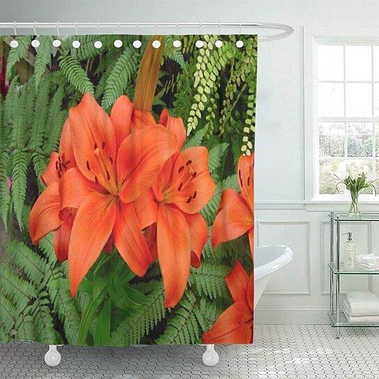 lilies lily flower iridescent orange floral photos inspiring xtolz shower curtain 60x72 inch