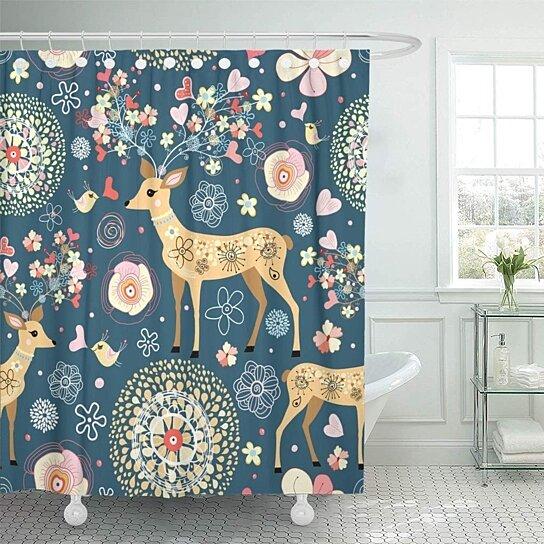 red pink cartoon is fabulous flower deer blue floral shower curtain 60x72 inch