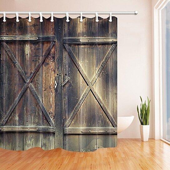 rustic wooden door barn door of farmhouse oak countryside village polyester fabric bath curtain bathroom shower curtain 66x72 inches