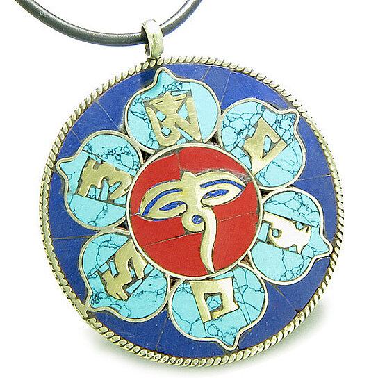Buy Amulet Tibetan Mantra Om Mani Padme Hum Buddha All Seeing Eye Turquoise Lapis Magic Circle