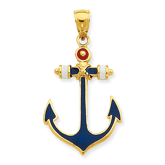 Buy Red White And Blue Enameled Anchor Pendant In 14k