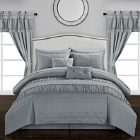 mykonos 20 piece comforter set embossed bedding sheets window treatments decorative pillows shams bed skirt included