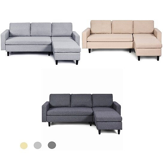 costway convertible sectional sofa couch l shaped couch back cushion beigegraydark gray