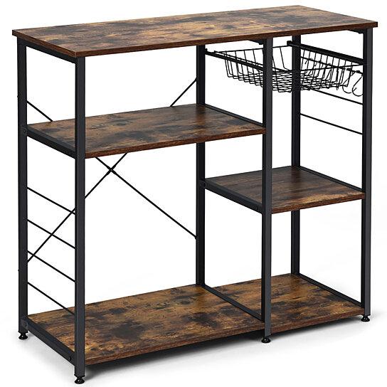 costway industrial kitchen baker s rack microwave stand utility storage shelf w 6 hooks steel black