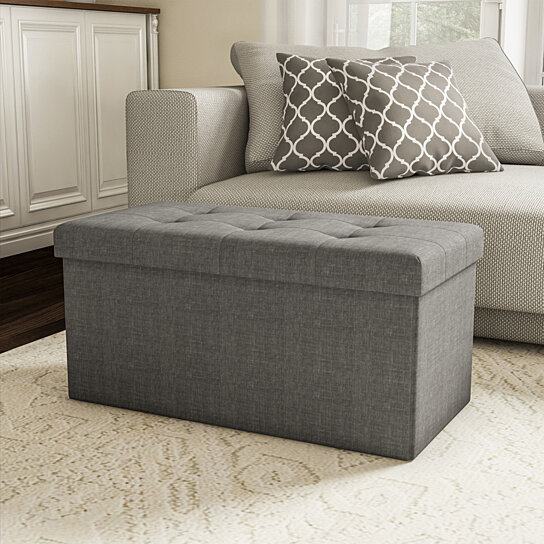 large folding gray foot stool storage ottoman bench and lid 30 x 15 x 15 for seat or feet