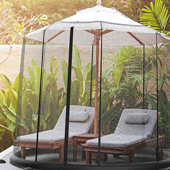 patio umbrella cover bug mosquito screen for 9 10 or 11 ft umbrellas zippered weighted netting