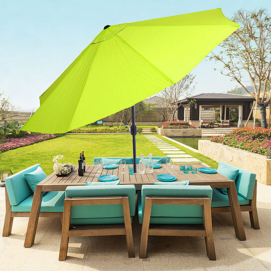 pure garden 10 foot aluminum patio umbrella with auto tilt lime green