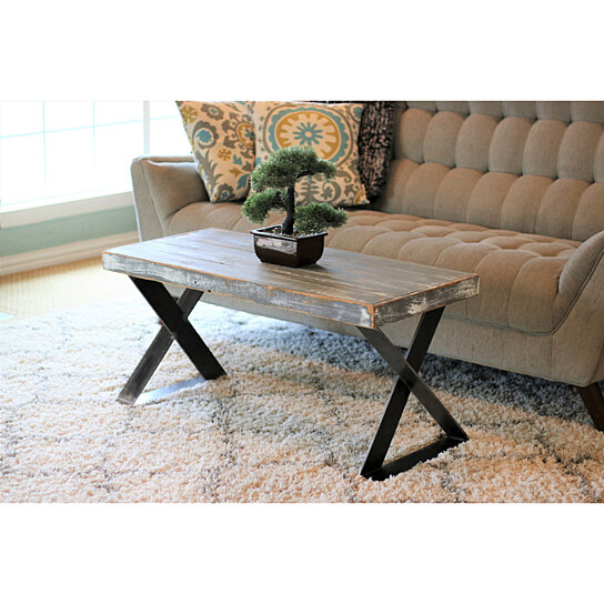 weathered gray x leg industrial coffee table
