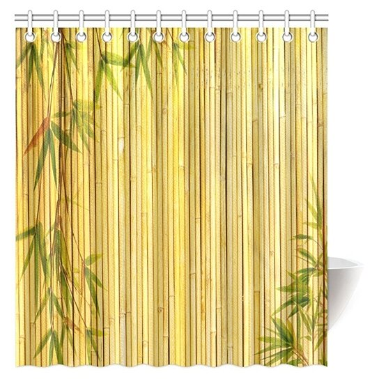 bamboo shower curtain light golden bamboo background with tree branches exotic plants zen peaceful art shower curtain 66x72 inch