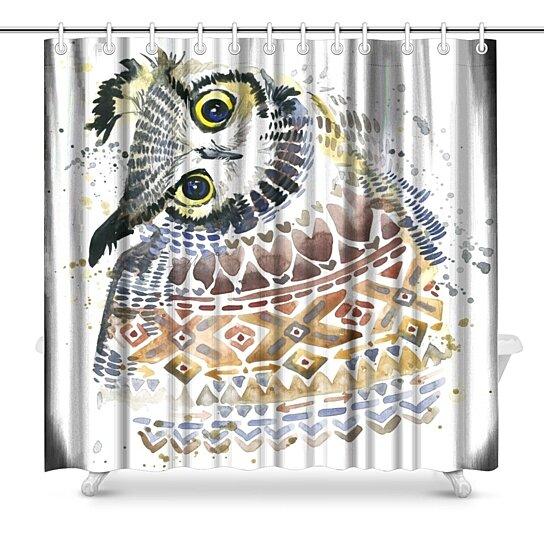 cute owl shower curtain 66x72 inch