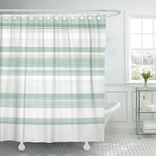 green pattern sage watercolor stripes mint white modern shower curtain 66x72 inch