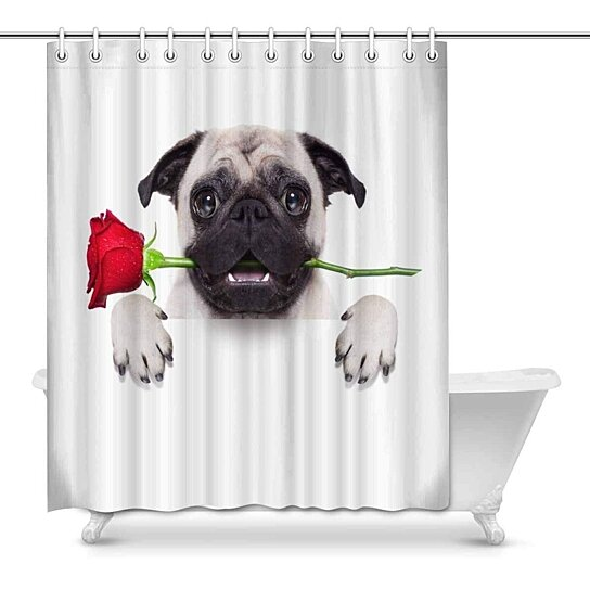 valentines dog cute pug with red roses shower curtain 60x72 inch
