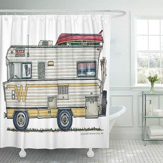 zcmpr winnebago camper rv zwnbg trailer richard neuman newman shower curtain 60x72 inch