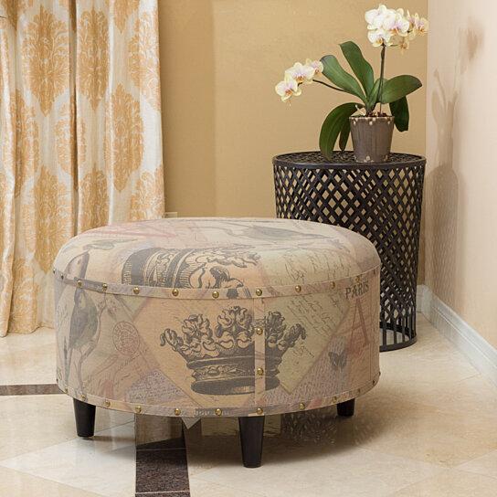 abdera round printed fabric ottoman