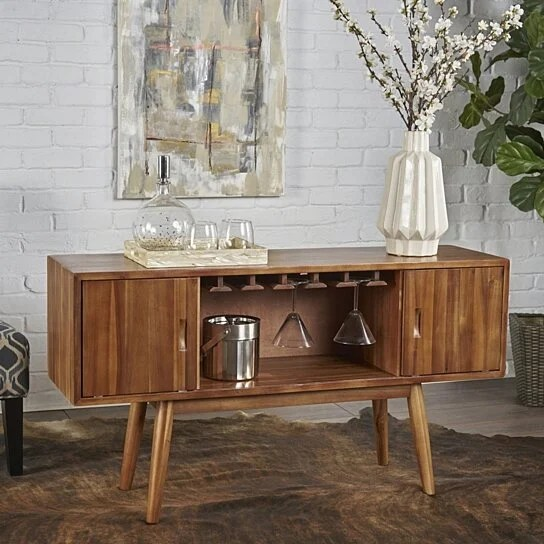 Buy Edye Mid Century Light Oak Finished Wood Wine Bar