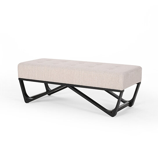 emily contemporary fabric ottoman bench