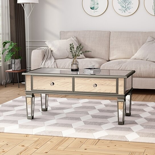janet modern mirrored coffee table with drawers tempered glass