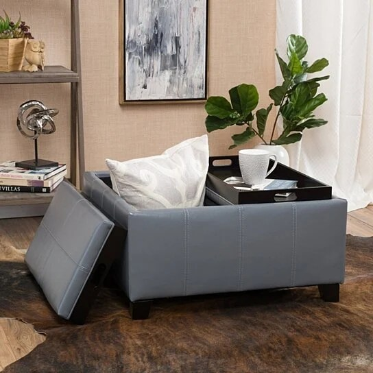 justin 2 tray top gray leather ottoman coffee table w storage