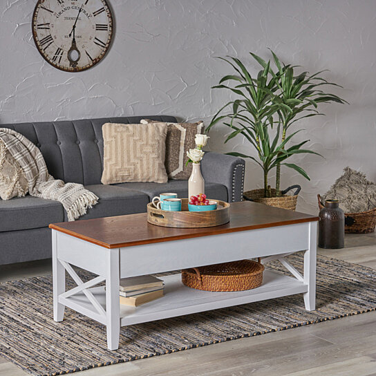 laurel luke farmhouse faux wood lift top coffee table