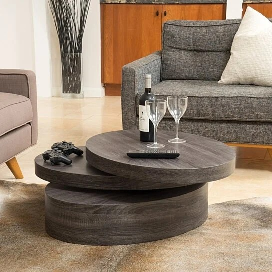 lenox oval mod rotating wood coffee table