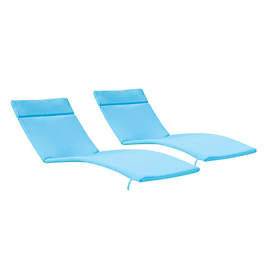set of 2 blue cushion pads for outdoor chaise lounge chairs