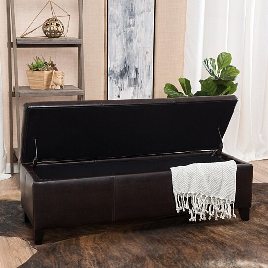 skyler brown leather storage ottoman bench