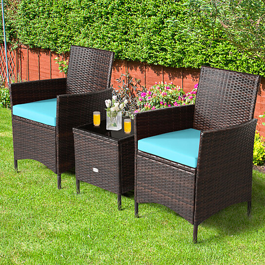 gymax 3pcs outdoor rattan conversation set patio furniture set w blue cushions