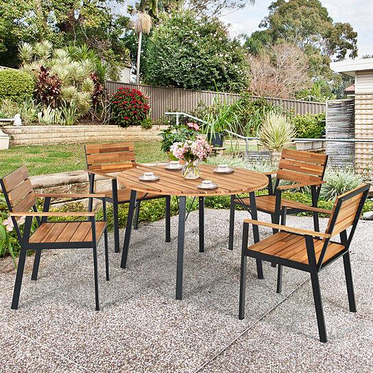 gymax 5pcs patio dining set outdoor dining furniture set w umbrella hole