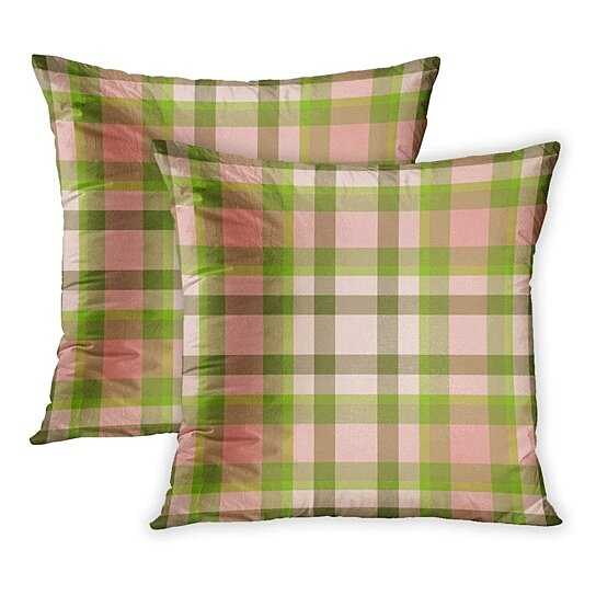 colorful abstract pink green plaid pattern check cheerful classic color fun pillowcase pillow cover 20x20 inch set of 2