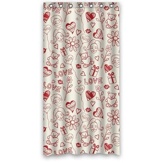 simple red cute patterns shower curtain waterproof bathroom curtain 36x72 inch
