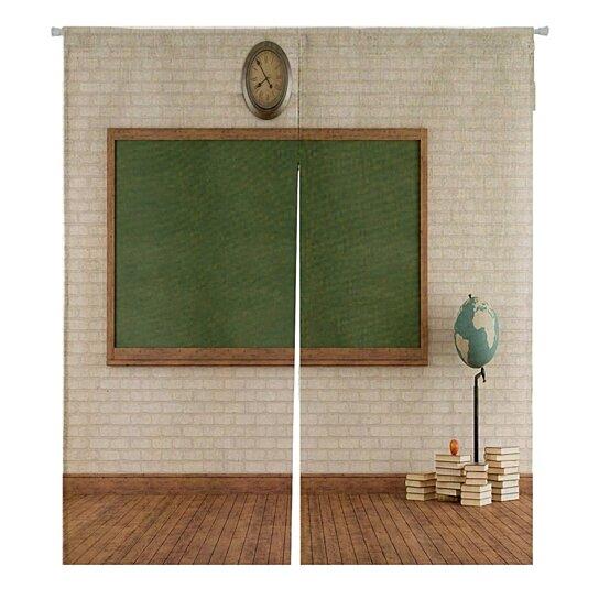 vintage classroom with green blackboard brick wall japanese noren curtain doorway door window treatment curtains cotton linen curtain