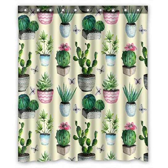 watercolor cactus succulent vintage cactus shower curtain and hooks for home decor