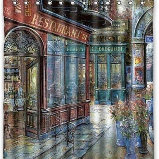 rue di rivoli paris cafe waterproof shower curtain set with hooks 66x72 inch