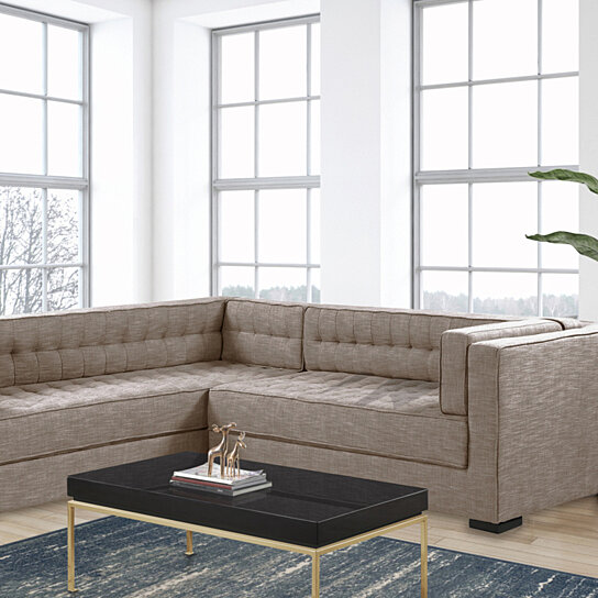 moraine right facing sectional sofa l shape linen textured upholstered tufted shelter arm design espresso finished wood legs
