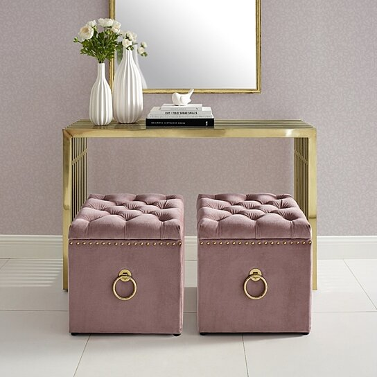 claudia velvet or linen ottoman storage knob handle cube nailhead trim by inspired home