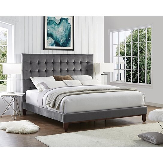 Buy Fabrizio Velvet Tufted Platform Bedframe King Queen Full Twin Upholstered Modern And Contemporary Inspired Home By Inspired Home On Dot Bo