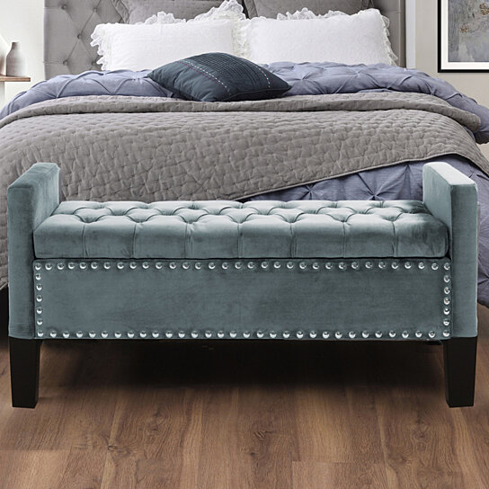 scarlett velvet button tufted storage bench silver nailhead trim upholstered modern functional by inspired home