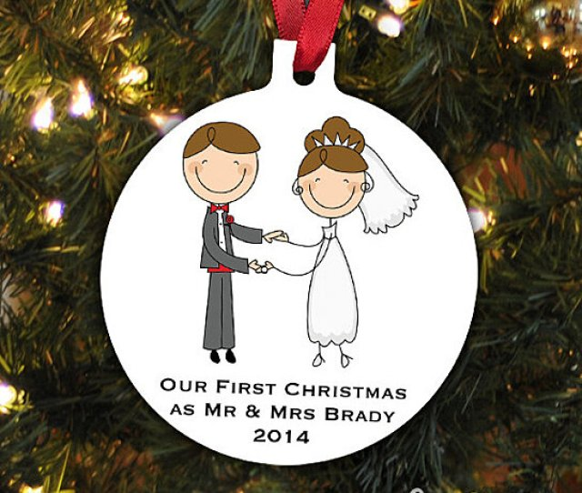 Buy Our First Christmas Ornament Personalized Christmas Ornament Wedding Christmas Ornament Newlywed Christmas Gift By Joyful Moose On Opensky