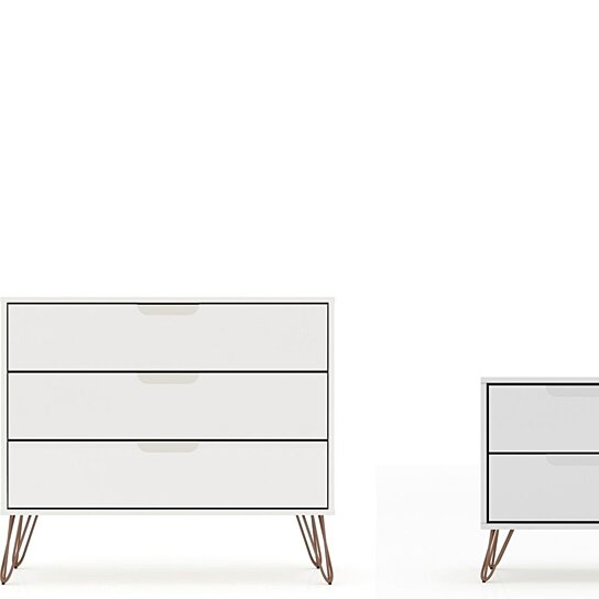 rockefeller mic century modern dresser and nightstand with drawers set of 2 in white