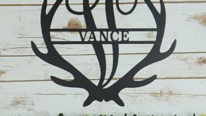 Buy Personalized Family Name Antler Monogram Metal Sign By