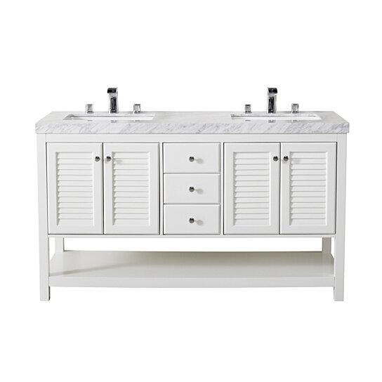 luthor 60 inch white double sink bathroom vanity