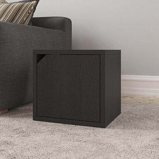 way basics modular bedside end table connect door cube cubby storage stackable closet organizer display shelf black wood grain