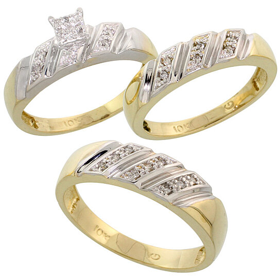 Wedding Rings Trio Sets For Him And Her Wedding Rings