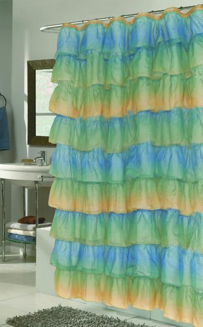 carmen ruffled shower curtain ombre