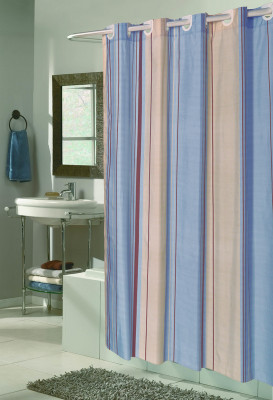 stripes brown ez on hookless fabric shower curtain