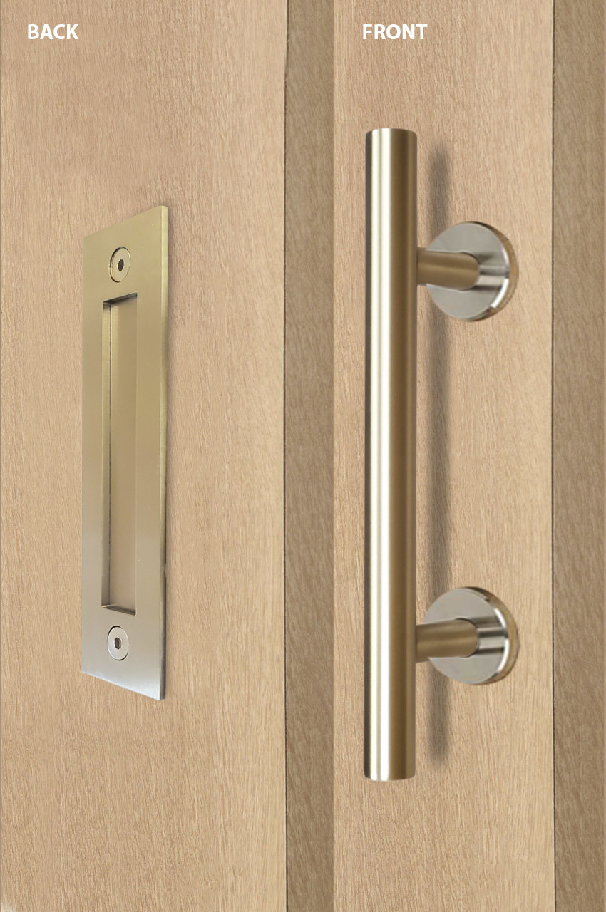Barn Door Pull And Flush Tubular Door Handle Set Satin Brass Stainless Steel Finish