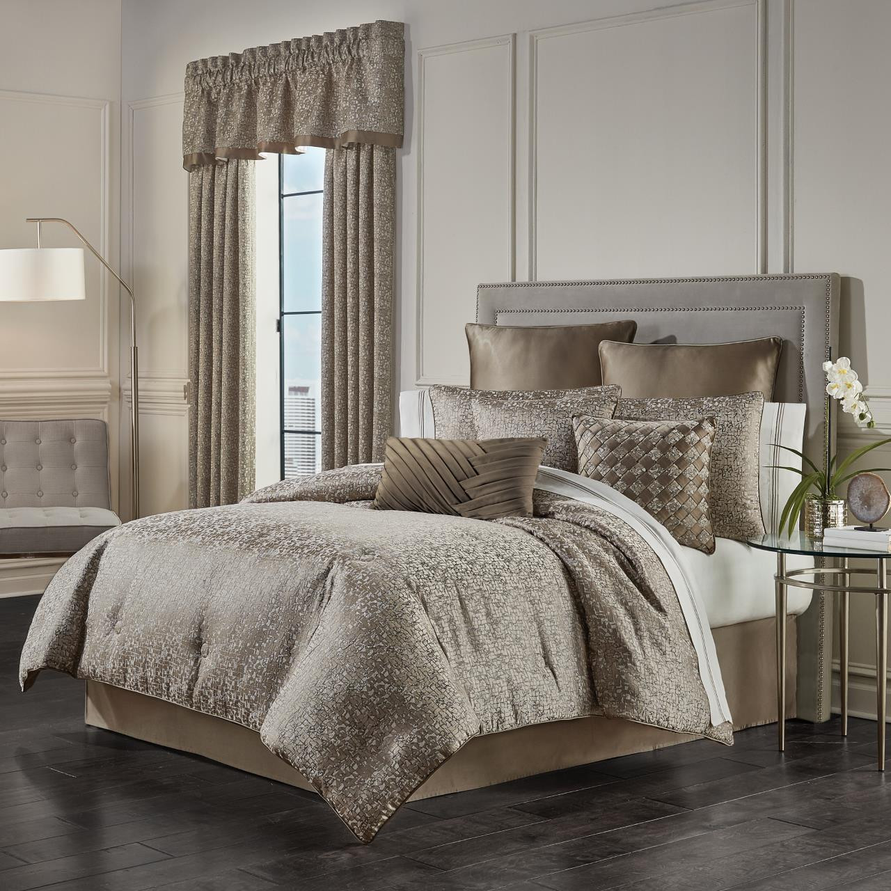 cracked ice taupe comforter set