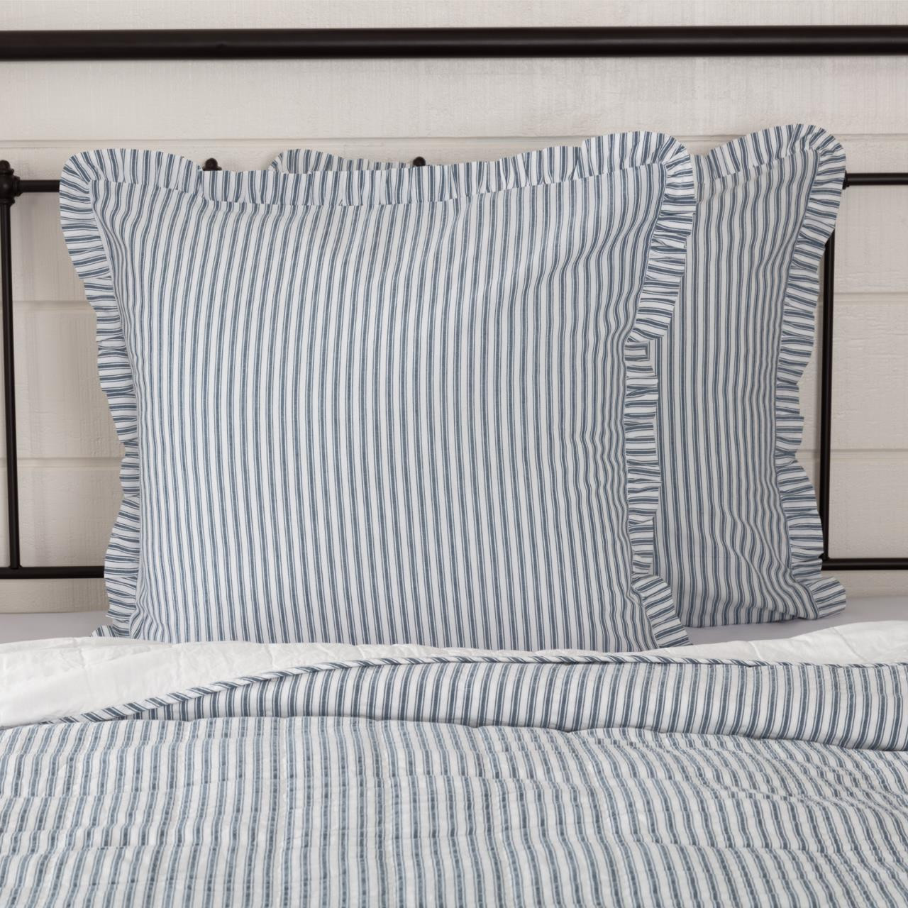 sawyer mill blue ticking stripe fabric euro sham